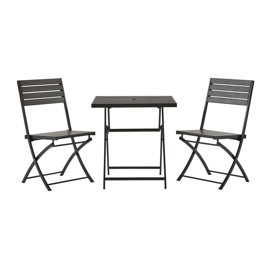 hampton bay 3 piece composite wood outdoor bistro set s zs141108 3 the home depot. Black Bedroom Furniture Sets. Home Design Ideas