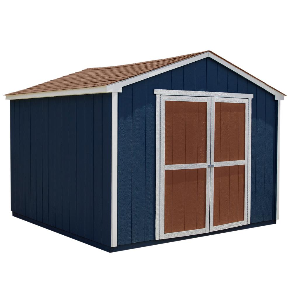 Handy Home Products Installed Princeton 10 Ft X 10 Ft Wood Storage Shed With Onyx Black Shingles 60422 5 The Home Depot