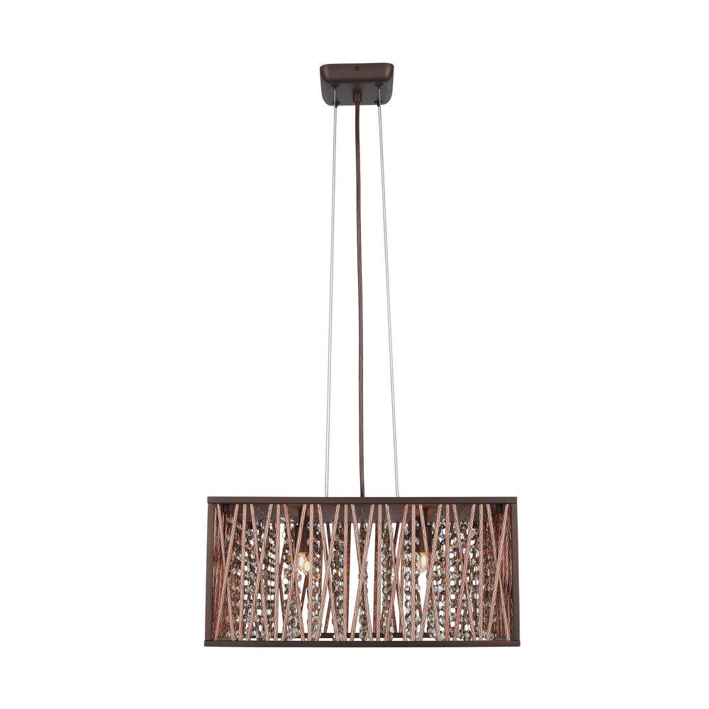 Home Decorators Collection Saynsberry 4-Light Espresso Chrome Pendant