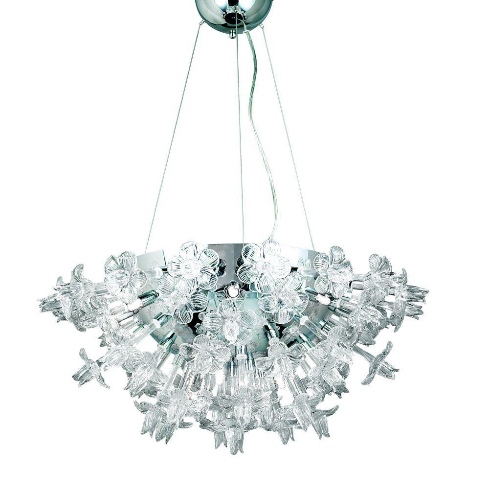Eurofase Celsia Collection 12-Light 85 in. Hanging Chrome Chandelier-DISCONTINUED