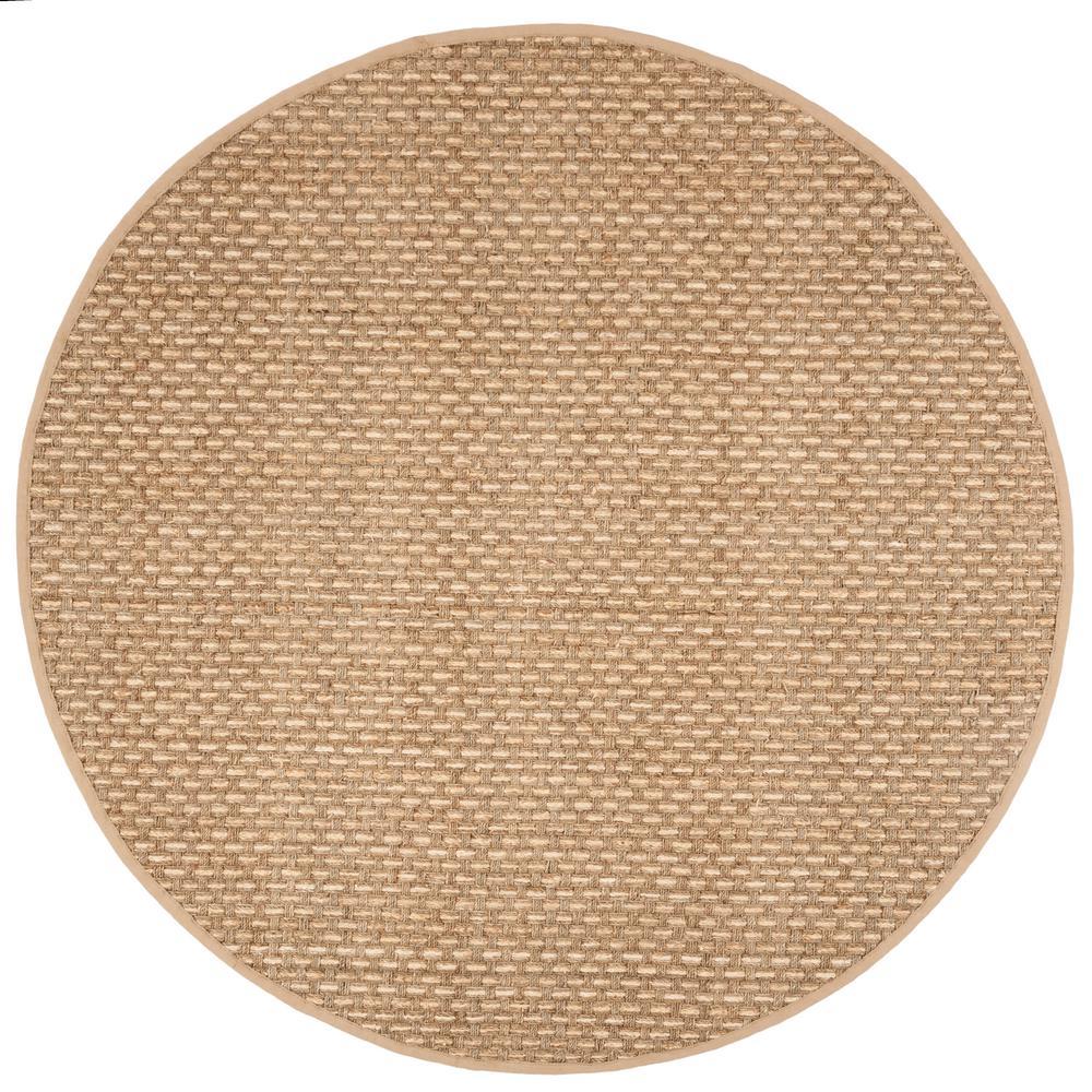 Natural Fiber Tan/Beige 6 ft. x 6 ft. Round Area Rug