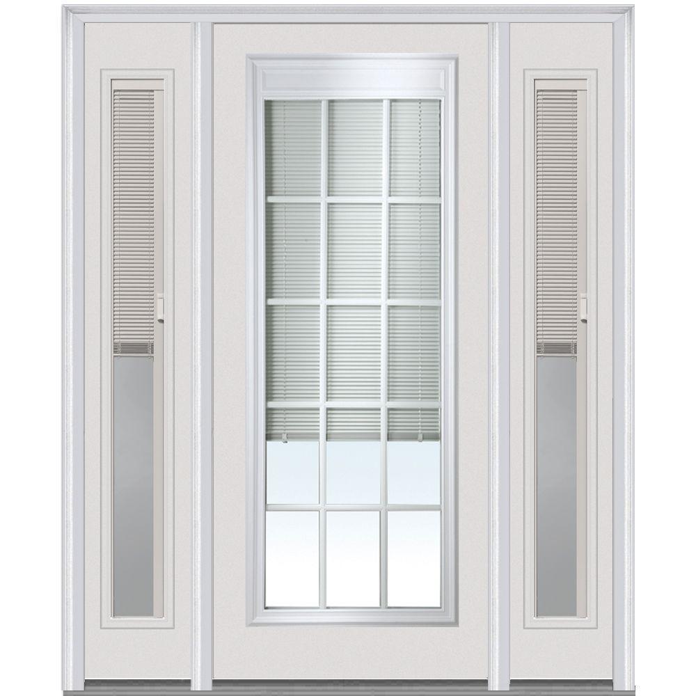 60 X 80 White Blinds Between The Glass Steel Doors Front