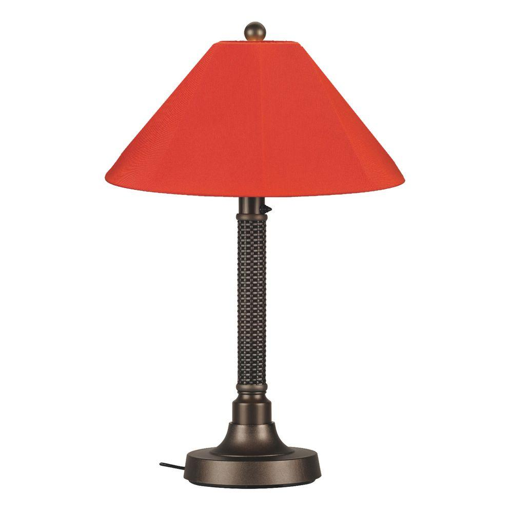 Bahama Weave 34 in. Dark Mahogany Outdoor Table Lamp with Melon