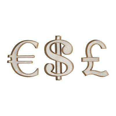 Currency Metal in Gold Wall Art (Set of 3)