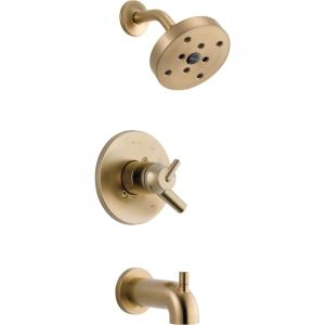 Trinsic 1-Handle Wall Mount Tub and Shower Faucet Trim Kit in Champagne Bronze with H2OKinetic (Valve Not Included)