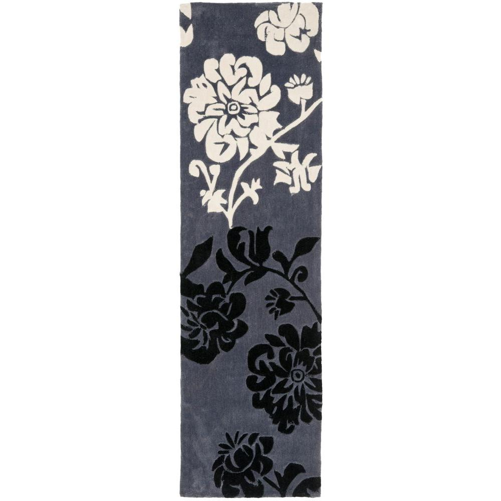 Safavieh Modern Art Dark Grey/Multi 2 ft. 6 in. x 14 ft. Runner