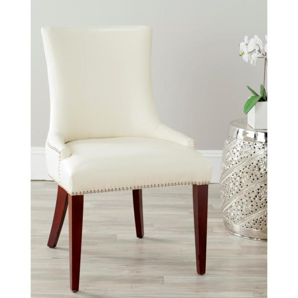 Safavieh Becca Flat Cream Leather Dining Chair MCR4502B