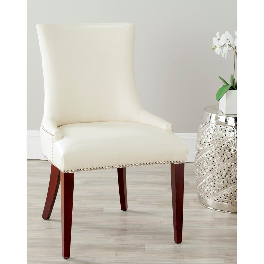fdd31b8fb446 Safavieh Becca Flat Cream Leather Dining Chair MCR4502B - The Home Depot