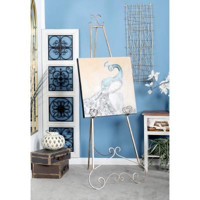 LITTON LANE Gold Iron Floor Easel with Scroll Details