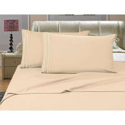1500 Series 4-Piece Cream Triple Marrow Embroidered Pillowcases Microfiber Split King Size Bed Sheet Set