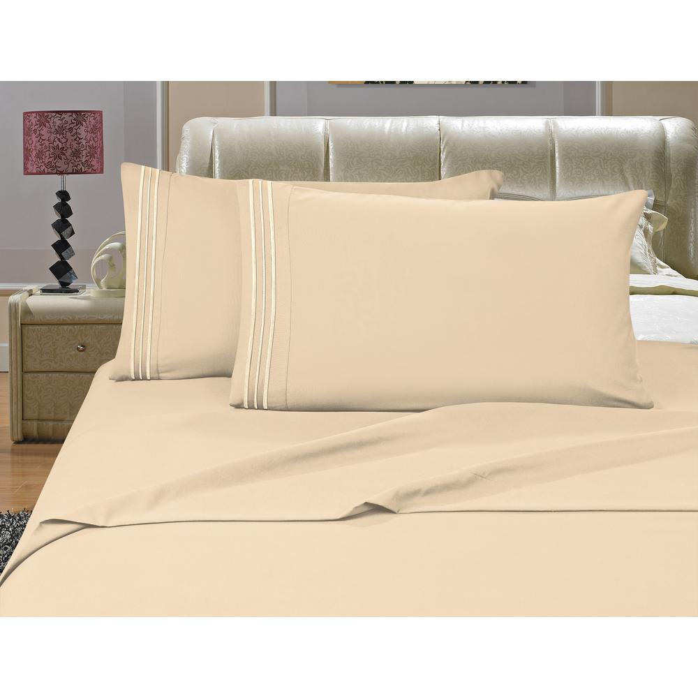 1500 Series 4-Piece Cream Triple Marrow Embroidered Pillowcases Microfiber Split