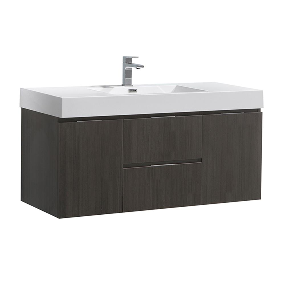 Fresca Valencia 48 In W Wall Hung Bathroom Vanity In Gray Oak