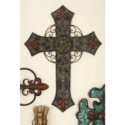16 in. x 22 in. Traditional Wall Cross in Distressed Iron Finish with Filigree (2-Pack)