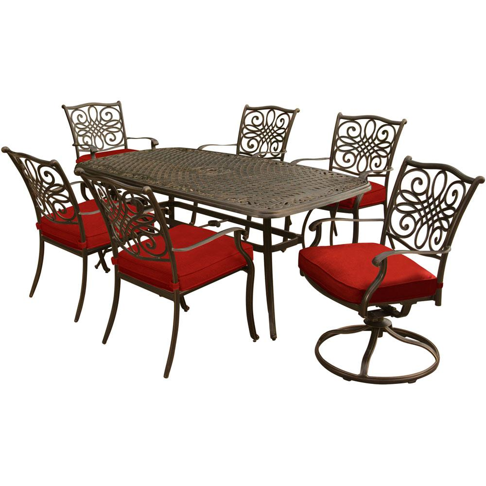 Hanover Traditions 7 Piece Aluminum Outdoor Dining Set With 2 Swivel  Rockers And Red Cushions