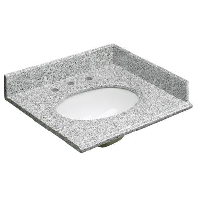 25 in. W Granite Vanity Top in Rushmore Grey and Sink in White with Backsplash and Optional Sidesplash