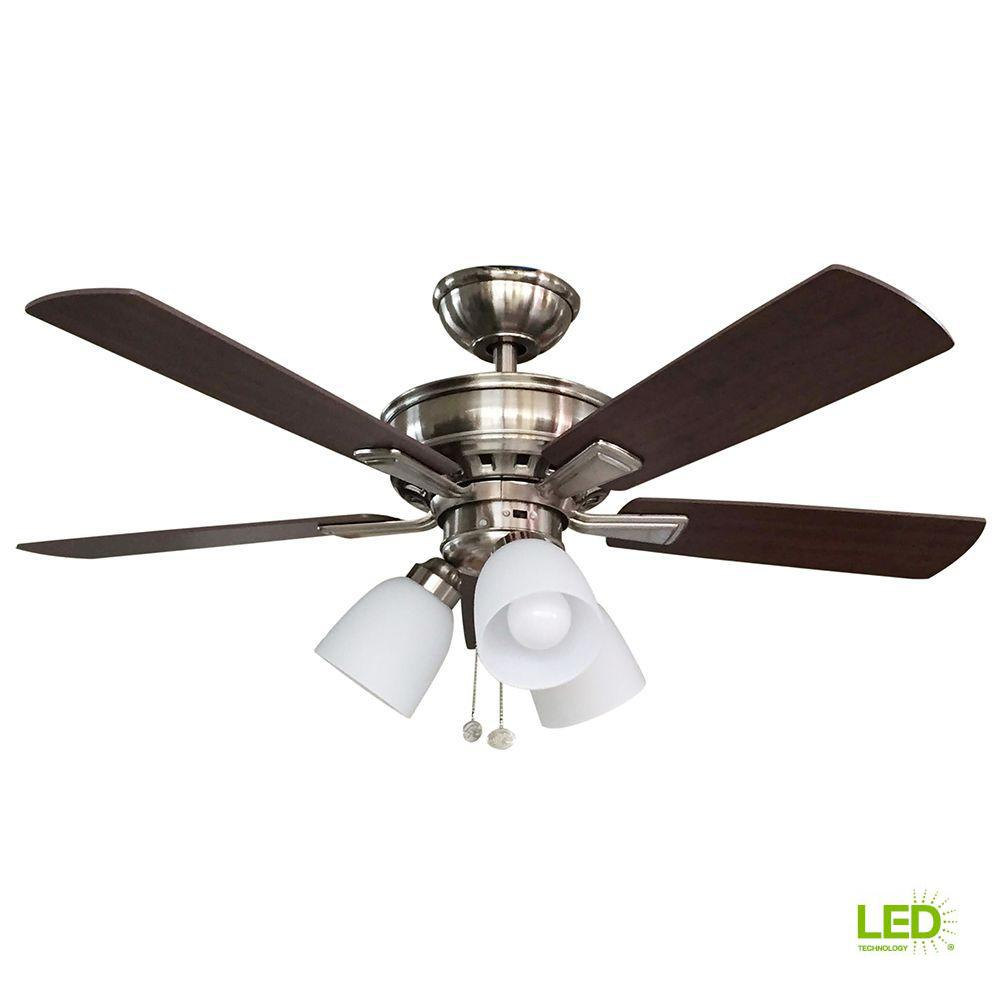 Celing Fans With Lights: Hampton Bay Vaurgas 44 In. LED Indoor Brushed Nickel
