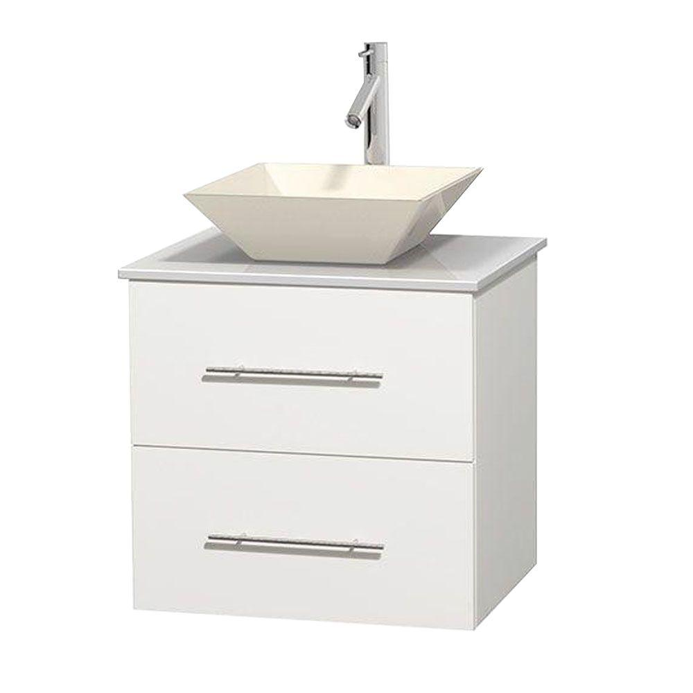 Centra 24 in. Vanity in White with Solid-Surface Vanity Top in