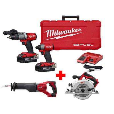 M18 FUEL 18-Volt Lithium-Ion Brushless Cordless Combo Kit (2-Tool) with Free Circular and Reciprocating Saw