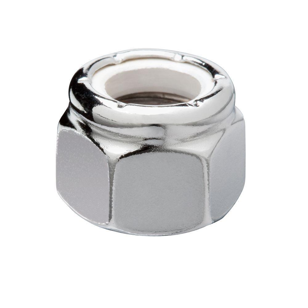 1/4 in.-20 Chrome Nylon Lock Nut (4-Pack)