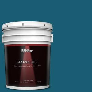 Behr Marquee 5 Gal 540d 7 Deep Blue Sea Flat Exterior Paint Primer 445305 The Home Depot