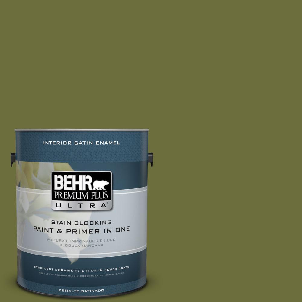 BEHR Premium Plus Ultra 1-gal. #400D-7 Jungle Trail Satin Enamel Interior Paint