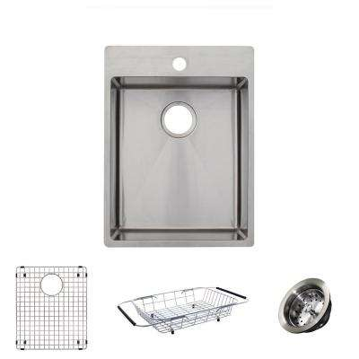 Vector All-in-One Dual Mount Stainless Steel 17 in. 1-Hole Single Bowl Kitchen Sink Kit