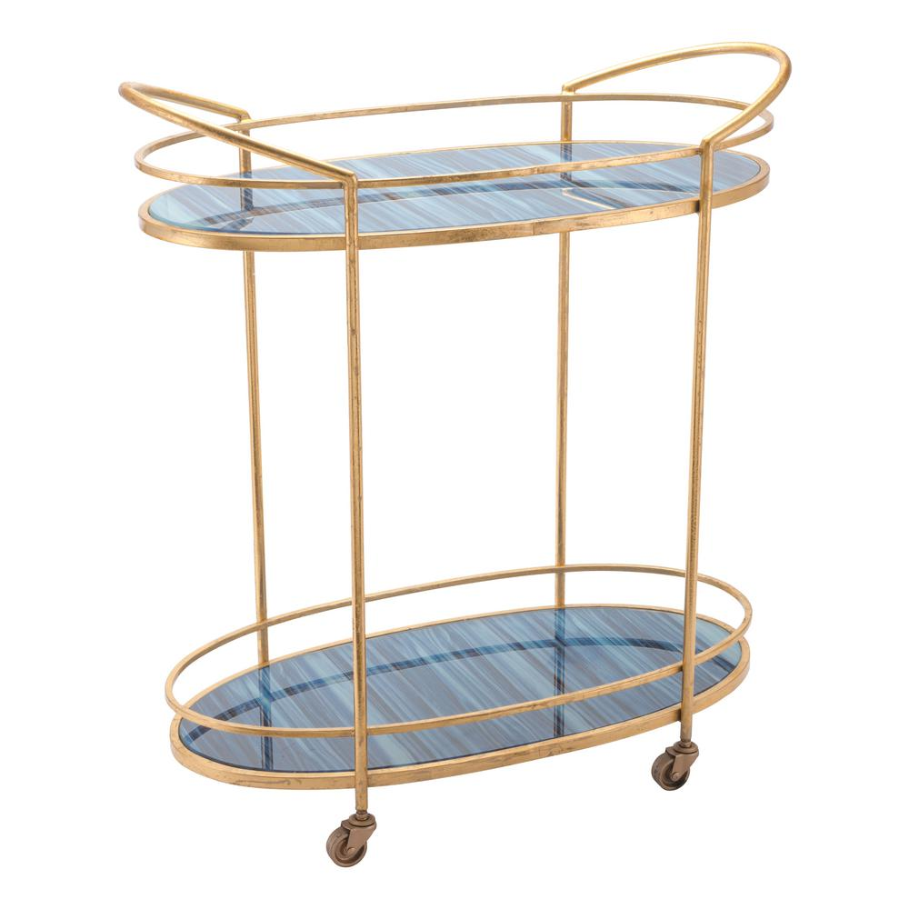 gold bar cart zuo zaphire blue and antique gold bar cart a10807 the 12800