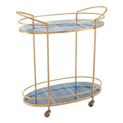 Zaphire Blue and Antique Gold Bar Cart