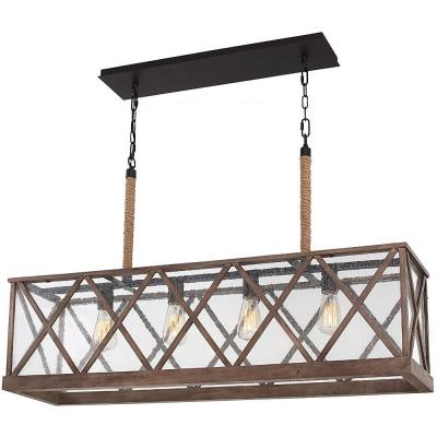 Lumiere 42.5 in. W. 4-Light Dark Weathered Oak/Oil-Rubbed Bronze Island Chandelier with Seeded Glass