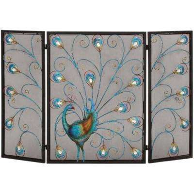 Peacock Themed Multi-Color Metal 3-Panel Fireplace Screen