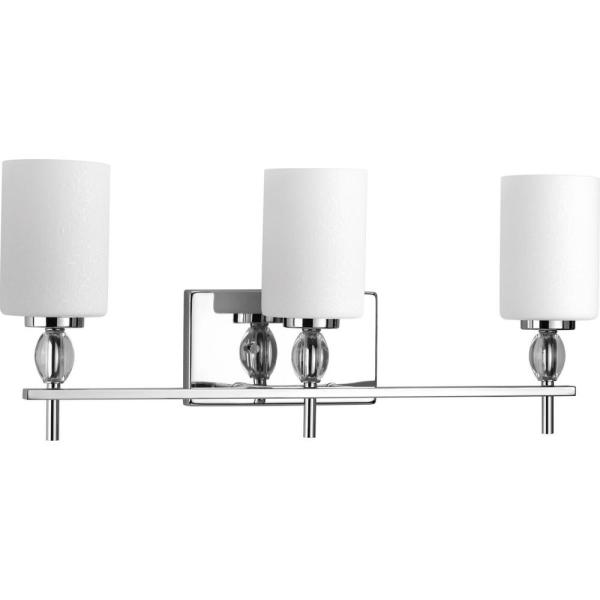 Status Collection 3-Light Polished Chrome Bathroom Vanity Light with Etched Linen Glass