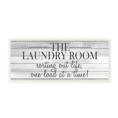 """7 in. x 17 in. """" Laundry Sorting Out Life Typography Black and White Planked Look"""" by Kimberly Allen Wall Plaque Art"""