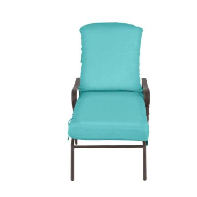 Oak Cliff Brown Steel Outdoor Patio Chaise Lounge with CushionGuard Seaglass Turquoise Cushions