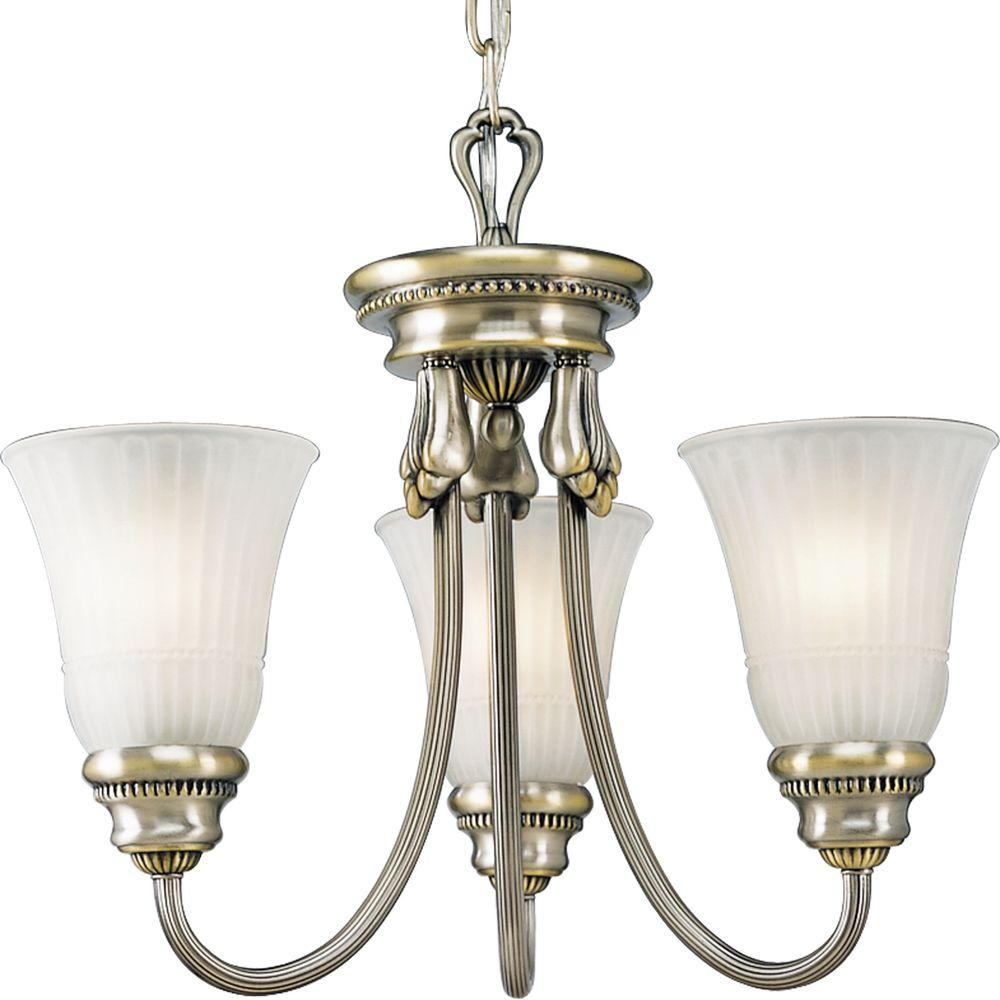 Progress Lighting Huntington Collection Colonial Silver 3-light Chandelier-DISCONTINUED