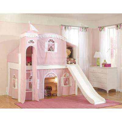 Cottage White Twin Low Loft Bed with Pink and White Top Tent, Bottom Curtain and Slide