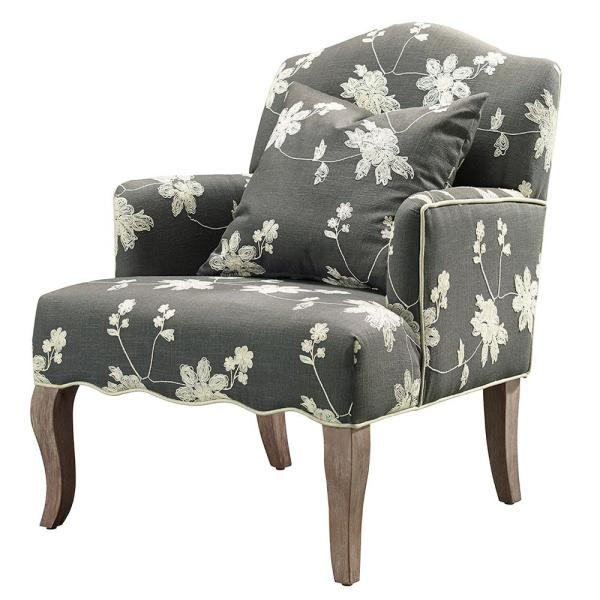 Gray Floral Polyester Arm Chair