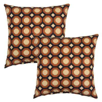Charcoal Geo Square Outdoor Throw Pillow (2-Pack)
