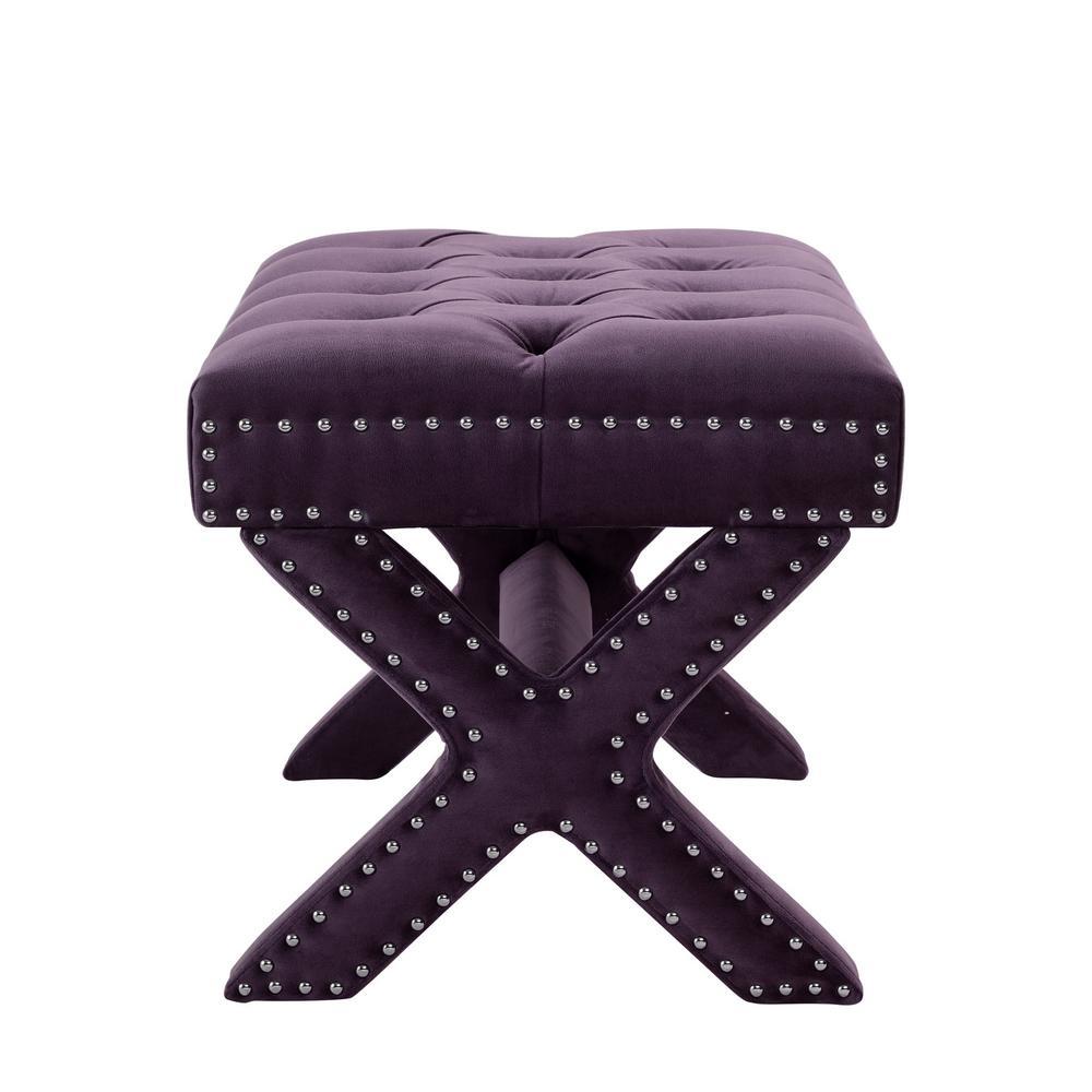Pleasing Inspired Home Charlize Plum Velvet Button Tufted Silver Ncnpc Chair Design For Home Ncnpcorg