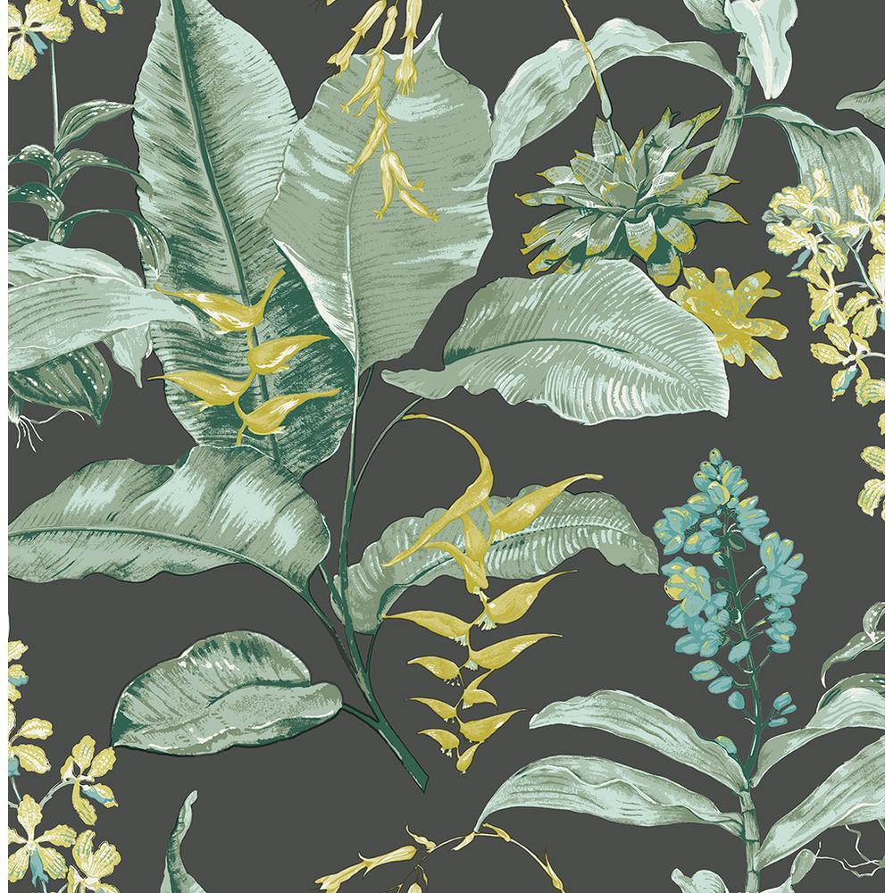 Maui Black Botanical Black Wallpaper Sample