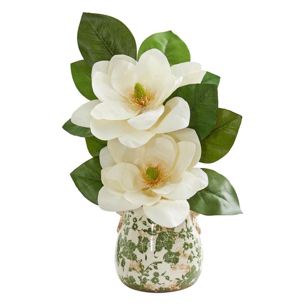 Nearly Natural Indoor Magnolia Artificial Arrangement in Floral Design Vase 1847