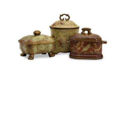 Assorted Crandle Boxes Decorative Sculpture in Beige/Red (Set of 3)