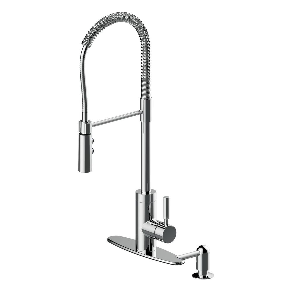 Cahaba industrial single handle pull down sprayer kitchen faucet with soap dispenser in polished