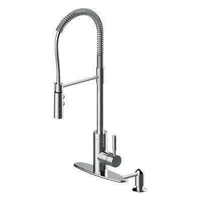 Industrial Single-Handle Pull-Down Sprayer Kitchen Faucet with Soap Dispenser in Polished Chrome