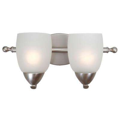 Mirror Lake 2-Light Brushed Nickel Bathroom Vanity Light with White Etched Glass Shade