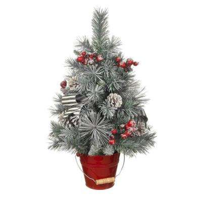 24 in. Snowy Pine Tree in Red Metal Bucket
