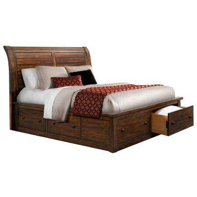 Aspen Creek Rustic Chestnut Storage 5 Piece Queen Sized Bedroom Suite
