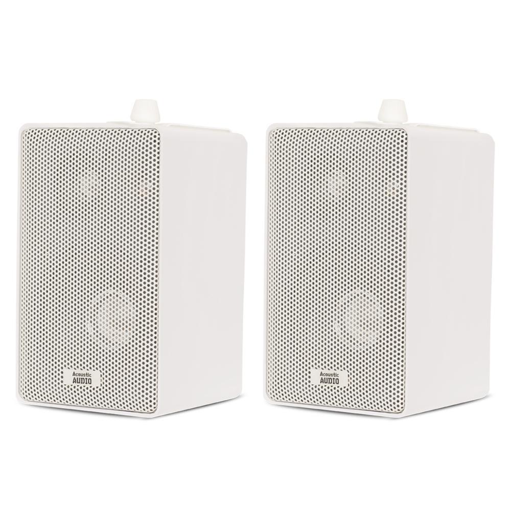 Indoor Outdoor 3-Way Speakers Mountable Pair in White