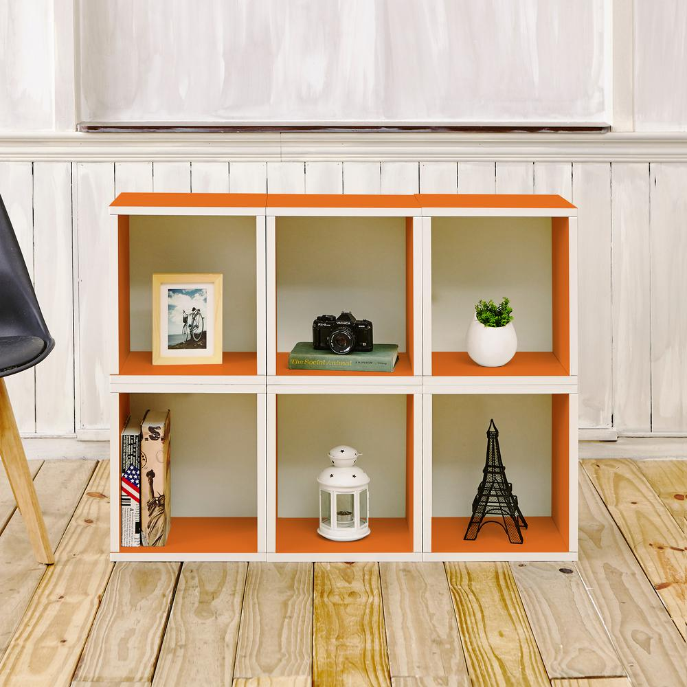 Way Basics Valencia 6 Cubes zBoard  Stackable Modular Storage Cubby Organizer, Tool-Free Assembly Storage in Orange