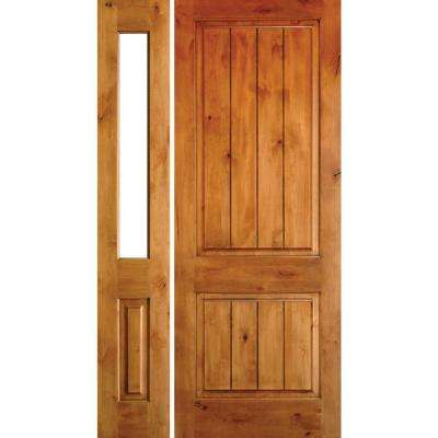 56 in. x 96 in. Rustic Knotty Alder Sq-Top VG Unfinished Right-Hand Inswing Prehung Front Door with Left Half Sidelite