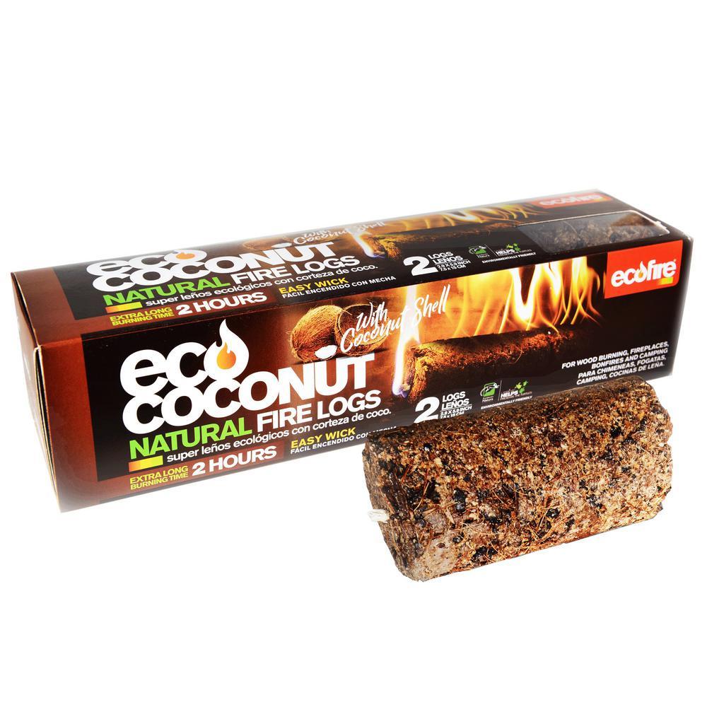 Ecofire Eco Coconut Super Fire Log 1-Hour Burn Time (6-Pack)